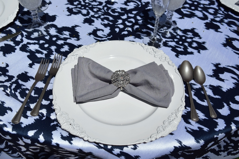 Navy & White Halo Linen