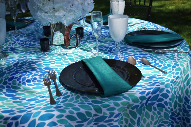 Lotus Leaf Blue/Green Printed Linen