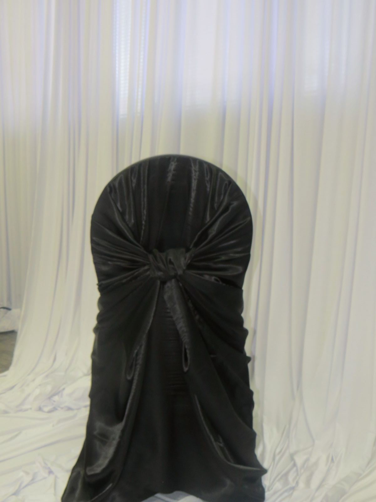 Black Satin Bustle Back Chair Cover