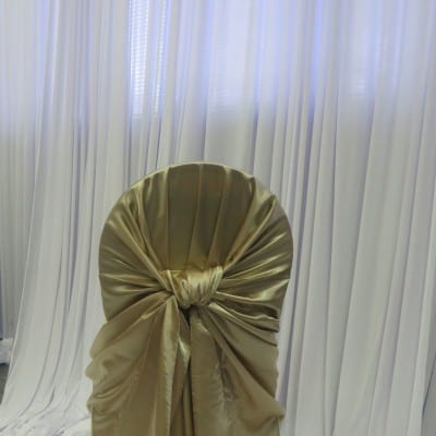 Champagne Satin Bustle Back Chair Cover