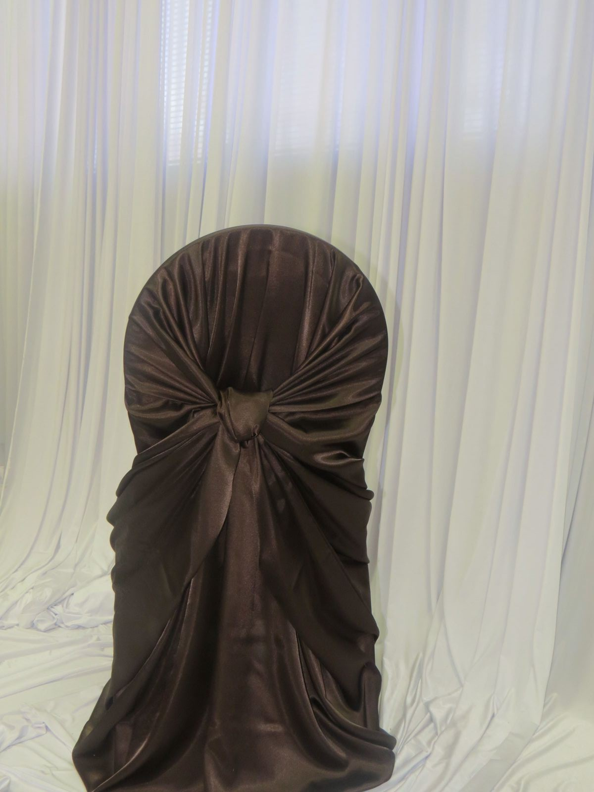 Chocolate Brown Satin Bustle Back Chair Cover