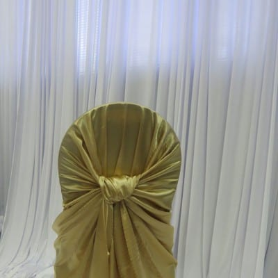 Gold Satin Bustle Back Chair Cover