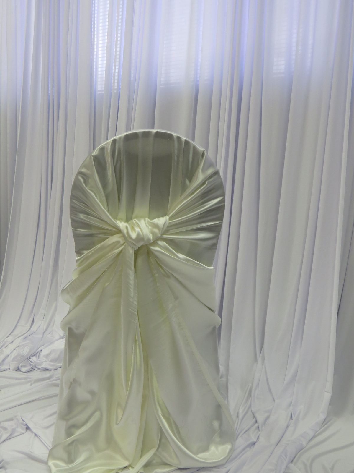 Ivory Satin Bustle Back Chair Cover