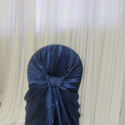 Navy Satin Bustle Back Chair Cover