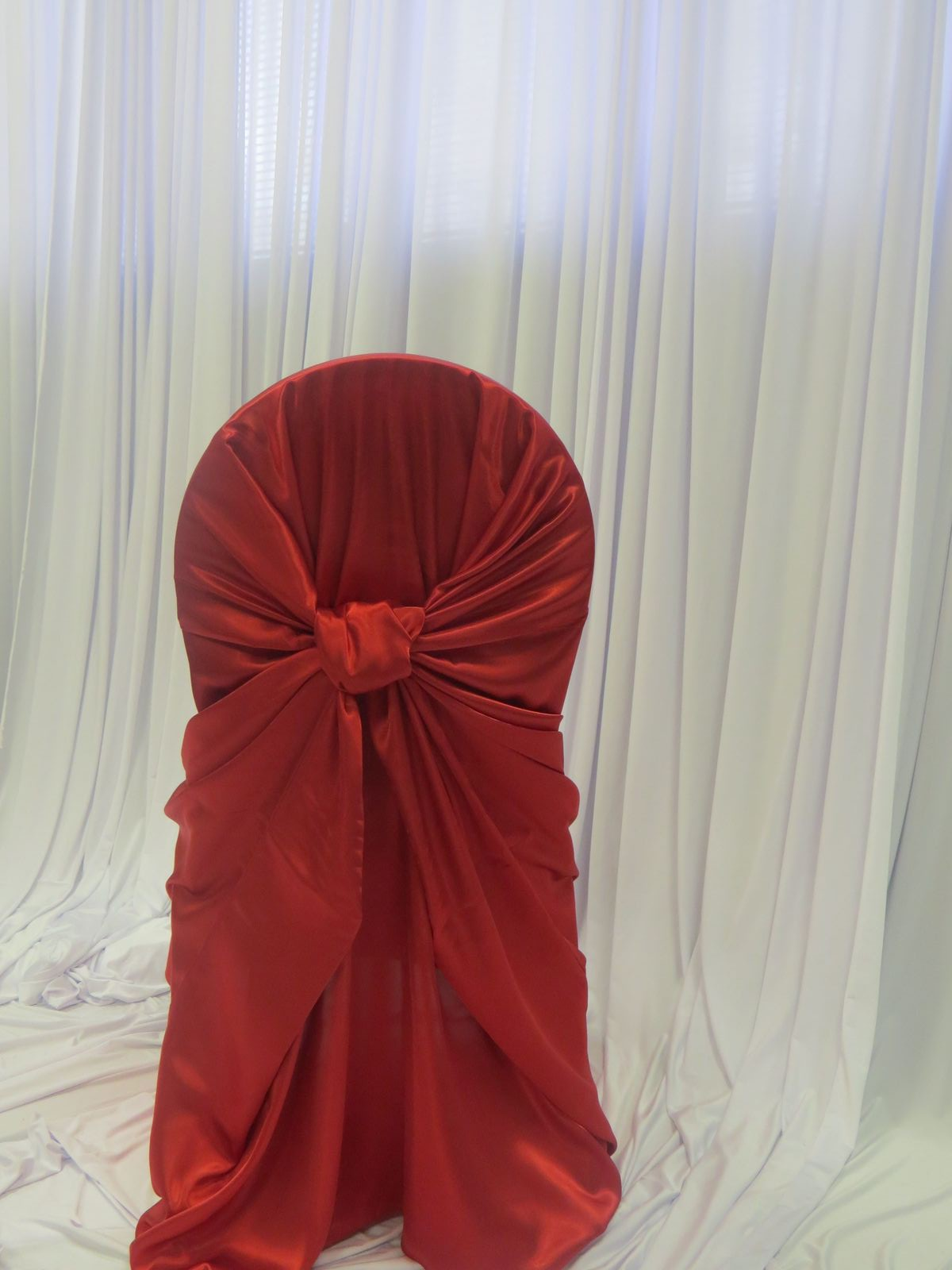 Red Satin Bustle Back Chair Cover