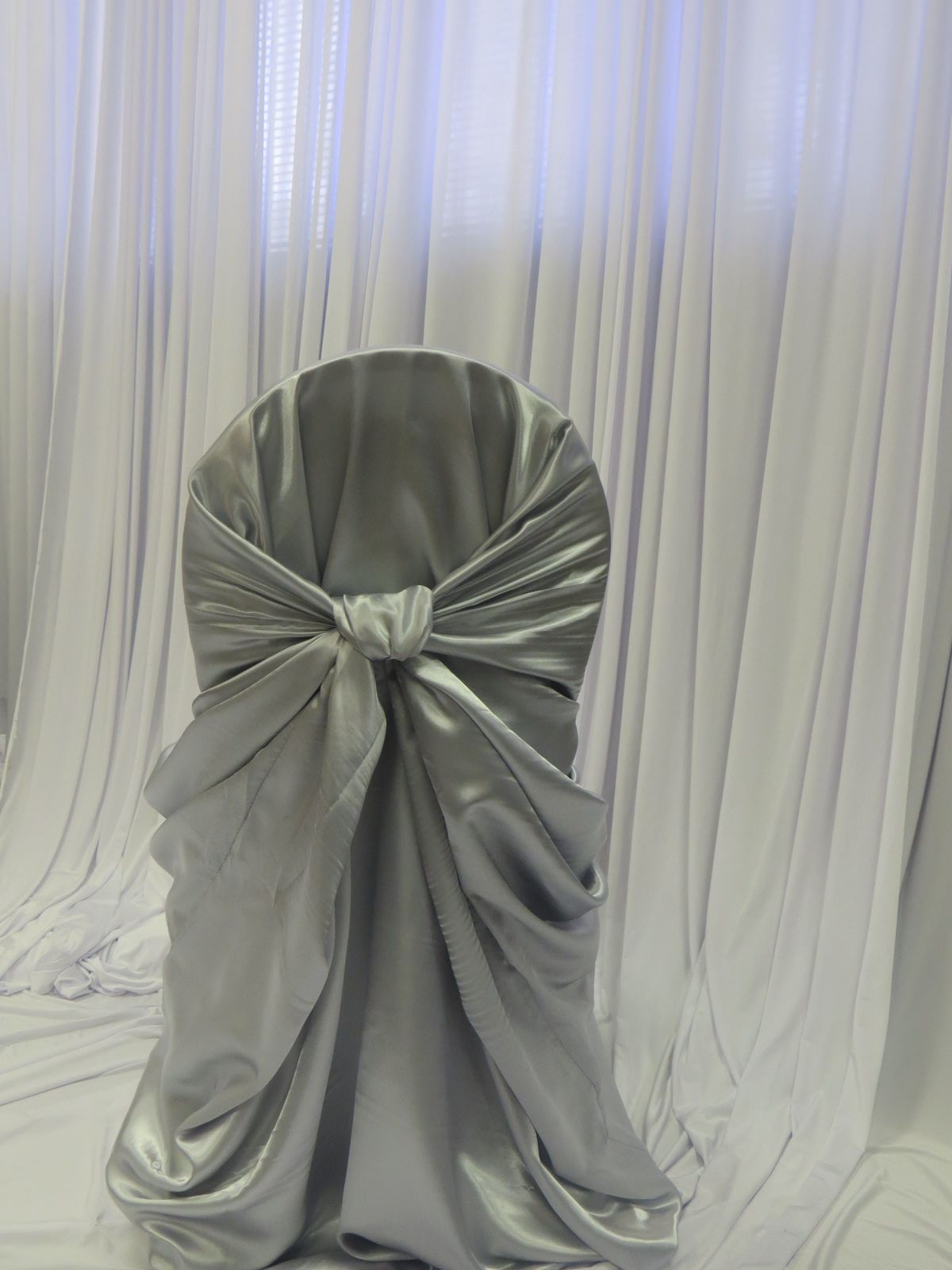 Silver Satin Bustle Back Chair Cover