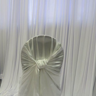 White Satin Bustle Back Chair Cover