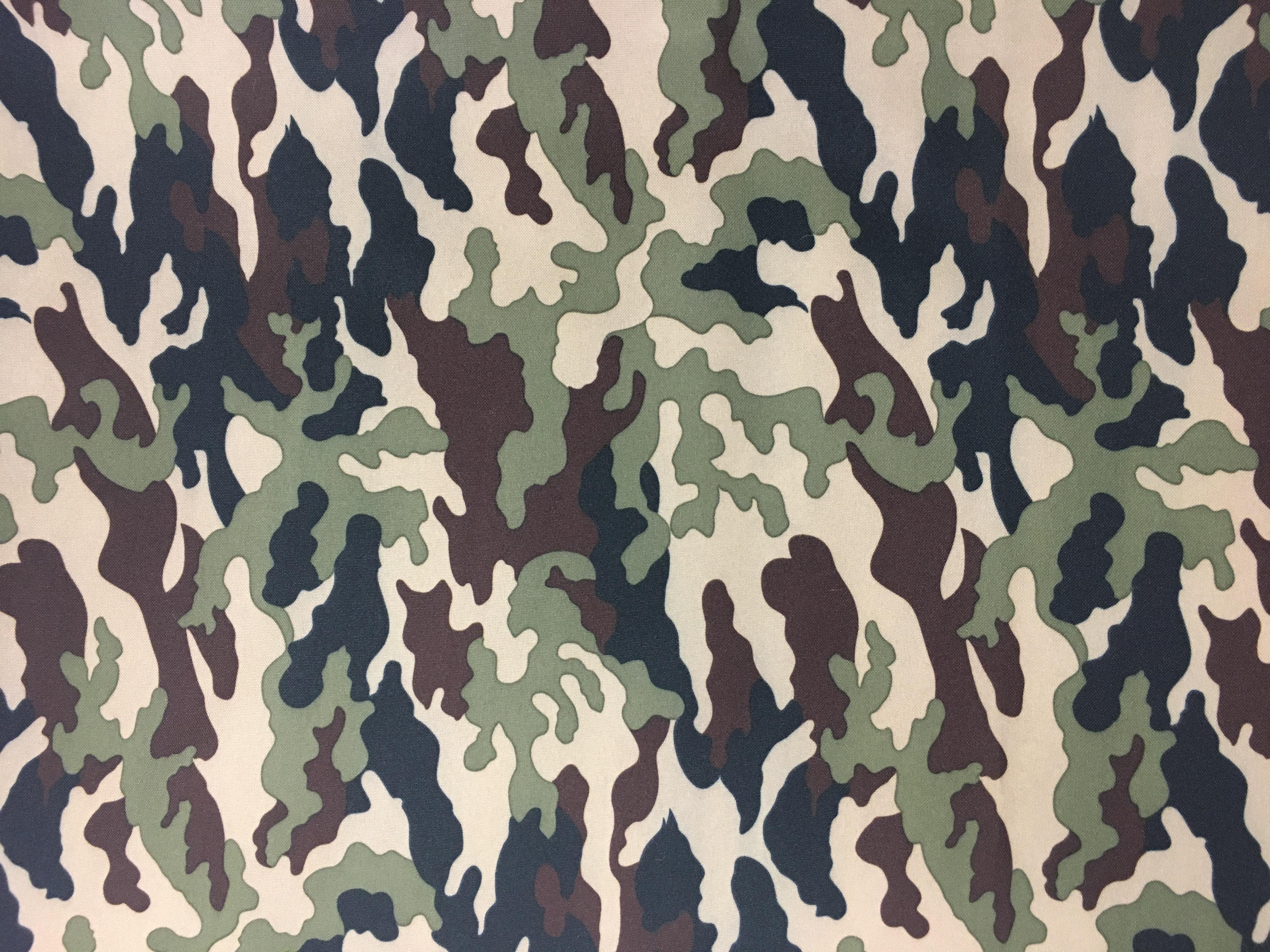 Camo Print Polyester Linen