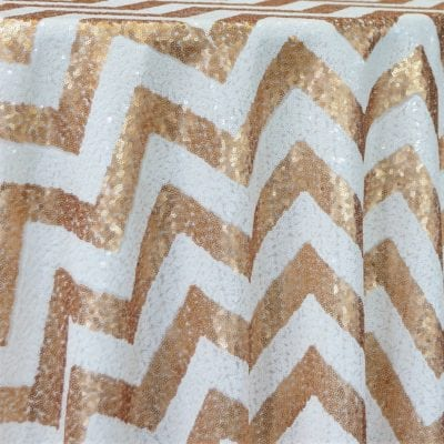 White & Champagne Chevron Sequins